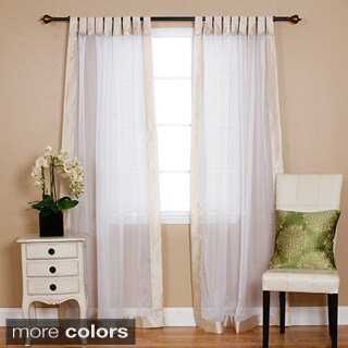 Aurora Home Dupioni Border Sheer Voile Tab Top Curtain Pair - 52 x 86