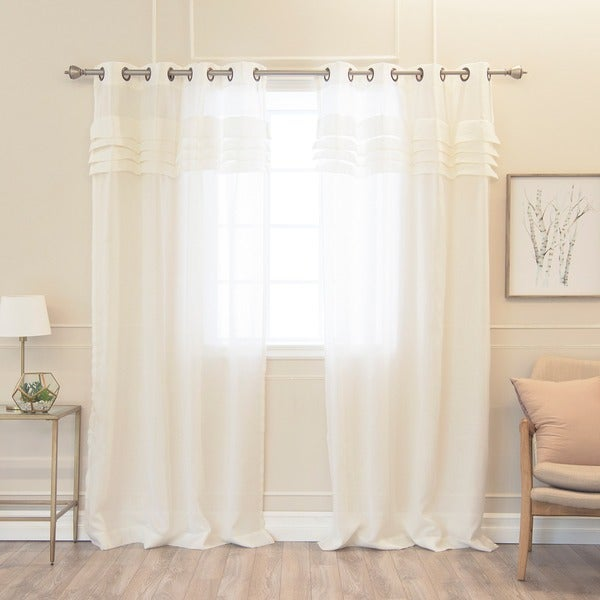 Aurora Home Pleated Faux Linen 84-inch Grommet Top Curtain Pair
