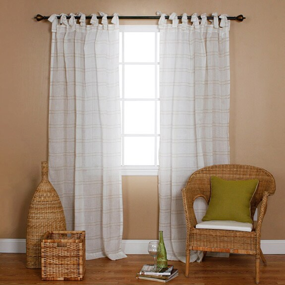 Softline Tie Tab Cotton And Linen Macrame Curtain Panel: Aurora Home Faux Linen Tie-top 84-inch Curtain Panel Pair