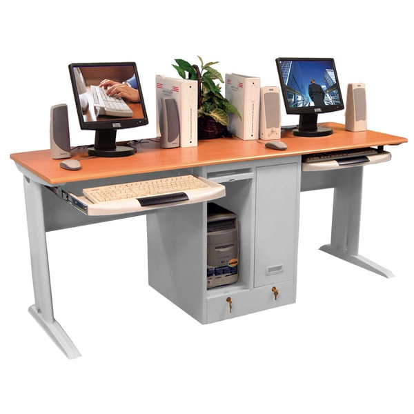 luxor grey two person desk free shipping today