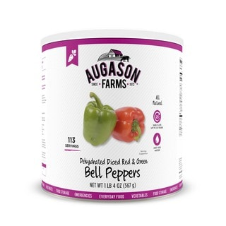 Augason Farms Dehydrated Diced Red & Green Bell Peppers 20 oz #10 Can