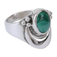 Handmade Sterling Silver 'Heart's Desire' Malachite Cocktail Ring (Mexico)