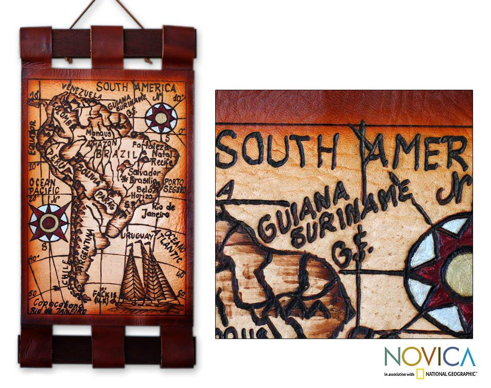 Handcrafted Leather 'South America in 21st Century' Map (Brazil)