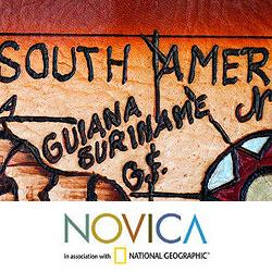 Handcrafted Leather 'South America in 21st Century' Map (Brazil) - Thumbnail 1