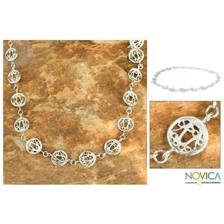 Handmade Sterling Silver 'Filigree Moon' Link Necklace (Thailand)