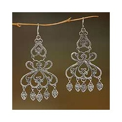 Handmade Sterling Silver 'Her Elegance' Chandelier Earrings (Indonesia)