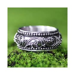 Handmade Sterling Silver 'Rain Forest Ferns' Ring (Indonesia)