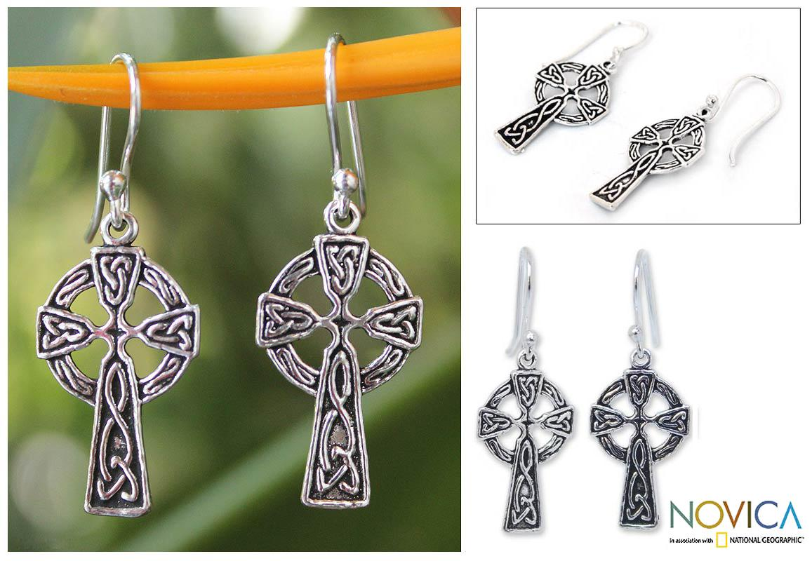 Handmade Sterling Silver 'Celtic Cross' Earrings (Thailand)