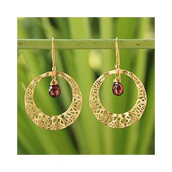 Gold Overlay 'Lanna Sun' Garnet Dangle Earrings (Thailand)