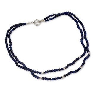 Agra Azure Double Strand Polished Blue Lapis Lazuli Gemstone Beads with 925 Sterling Silver Toggle Catch Womens Necklace (India)