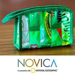 Recycled Wrapper 'New Green' Medium Cosmetic Bag (Indonesia)