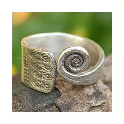 Handmade Sterling Silver 'Thai Sunbeams' Wrap Ring (Thailand)