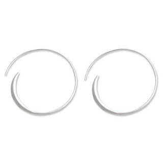 Handmade Sterling Silver 'Spin Me' Large Half Hoop Earrings (Indonesia)