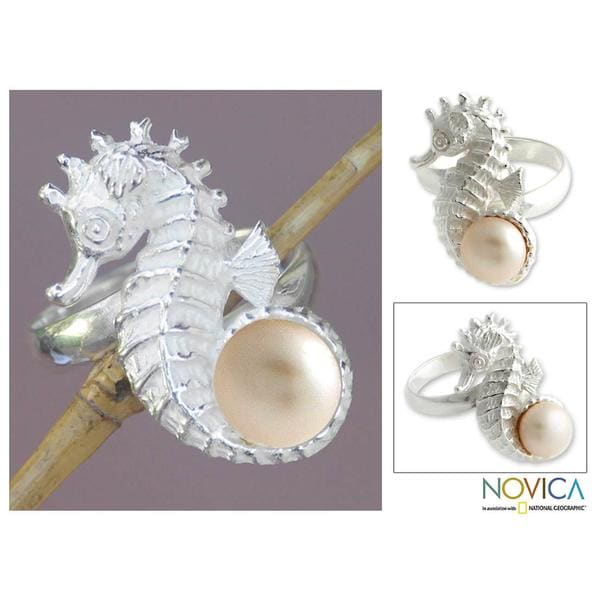 Handmade Sterling Silver 'Sea Horse Treasure' Pearl Ring (7.5-8 mm) (Indonesia)