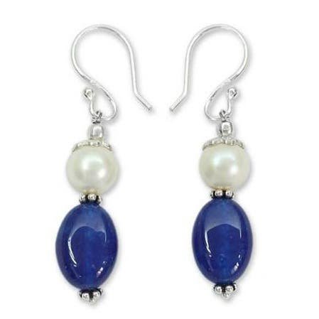 Sterling Silver Kisses Chalcedony and Pearl Earrings