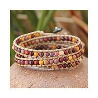 Handmade Jasper and Agate 'Lotus Feast' Cotton Bracelet (Thailand)