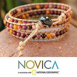 Handmade Jasper and Agate 'Lotus Feast' Cotton Bracelet (Thailand) - Thumbnail 2