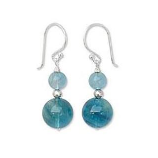 Handmade Sterling Silver 'Blue Genie' Fluorite Dangle Earrings (Thailand)