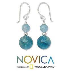 Sterling Silver 'Blue Genie' Fluorite Dangle Earrings (Thailand)