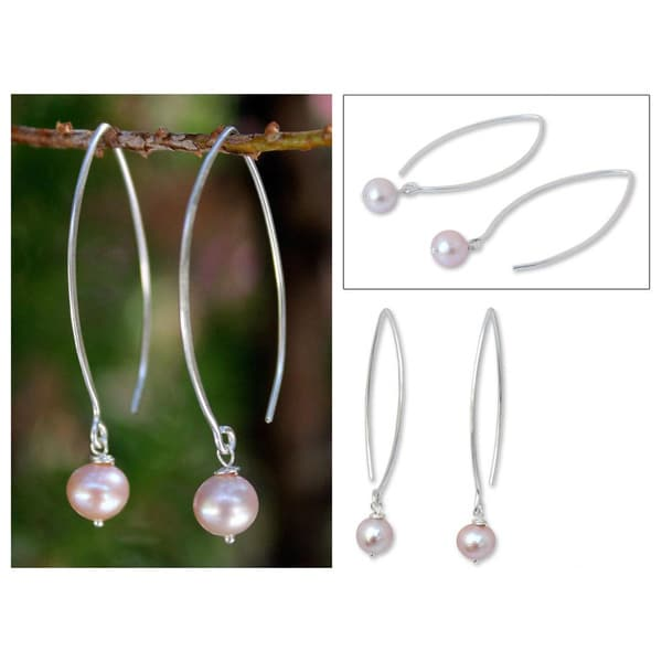 Handmade Sterling Silver 'Precious Pink' Pearl Earrings (6.5-7 mm) (Thailand)