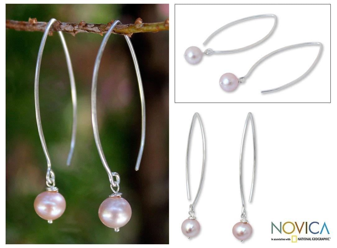 Handmade Sterling Silver 'Precious Pink' Pearl Earrings (6.5-7 mm) (Thailand)