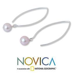 Handmade Sterling Silver 'Precious Pink' Pearl Earrings (6.5-7 mm) (Thailand) - Thumbnail 2
