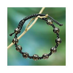 Handcrafted Smokey Quartz 'Joyful Oneness' Macrame Bracelet (India)
