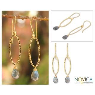 Gold Overlay 'Iris Dewdrop' Labradorite Dangle Earrings (Thailand)