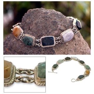 Handmade Sterling Silver 'Maya Rainbow' Jade and Quartz Bracelet (Guatemala)