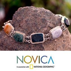 Sterling Silver 'Maya Rainbow' Jade and Quartz Bracelet (Guatemala)