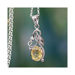 Handmade Sterling Silver 'Sun Bouquet' Citrine Necklace (India)