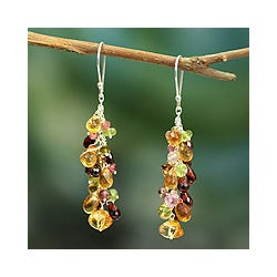 Handmade Sterling Silver 'Virtuous Akkadevi' Multi-gemstone Earrings (India)