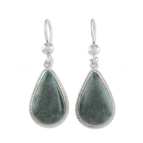 "Handmade Sterling Silver 'Dark Green Sacred Quetzal' Jade Earrings (Guatemala) - 1.7 "" L x 0.6"" W x 0.2 "" D"
