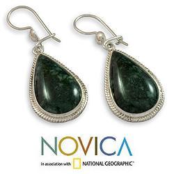 Handmade Sterling Silver 'Dark Green Sacred Quetzal' Jade Earrings (Guatemala)