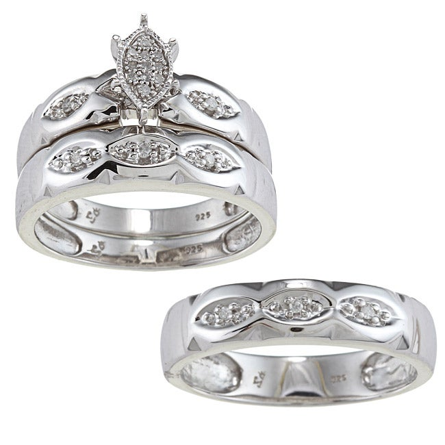 JewelonFire Sterling Silver 1/8ct TDW Diamond 3-piece His...