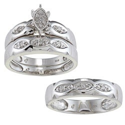 Sterling Silver 1/8ct TDW Diamond 3-piece His and Hers Bridal Ring Set