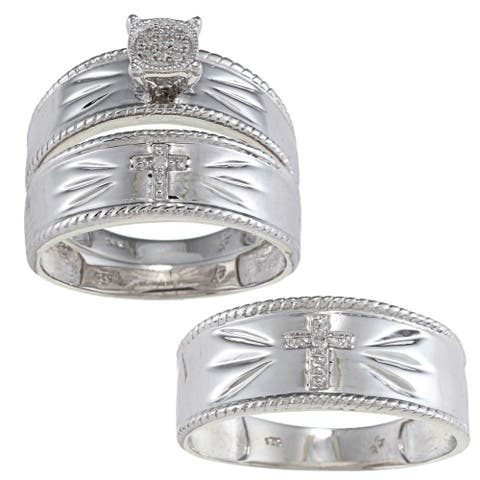 Sterling Silver Diamond Accent Cross 3 - piece His and Hers Bridal - style Ring Set Size - 1