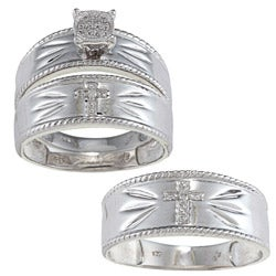 Sterling Silver Diamond Accent Cross 3-piece His and Hers Bridal-style Ring Set