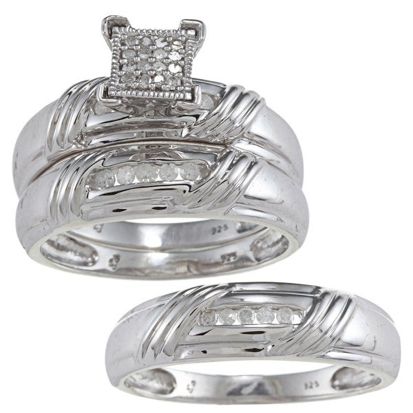 Sterling Silver 1/5ct TDW Diamond 3-piece His and Hers Bridal Ring Set (H-I, I1-I2)
