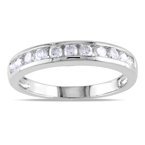 Miadora Certified 14k Gold 1/2ct TDW Diamond Semi Eternity Wedding Band Ring (G-H, SI1-SI2)