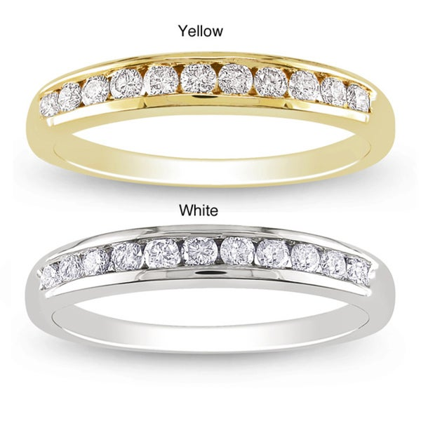 Miadora 14k Gold 1/3ct TDW Diamond Semi-eternity Ring