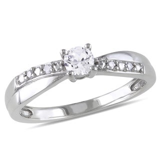 Miadora Sterling Silver 1/3ct TGW White Round-cut Sapphire and Diamond Accent Promise Ring