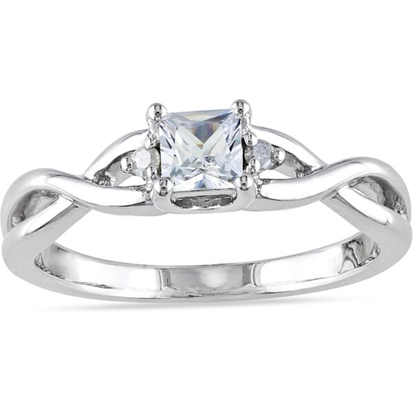 Miadora Sterling Silver 1/3ct TGW Princess-cut Created White Sapphire and Diamond Accent Infinity Promise Ring (H-I, I2-I3)