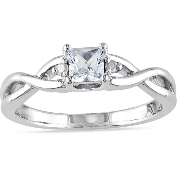 Miadora Sterling Silver 1/3ct TGW Princess-cut Created White Sapphire and Diamond Accent Infinity Pr