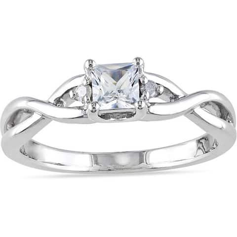Miadora Sterling Silver 1/3ct TGW Princess-cut Created White Sapphire and Diamond Accent Infinity Pr