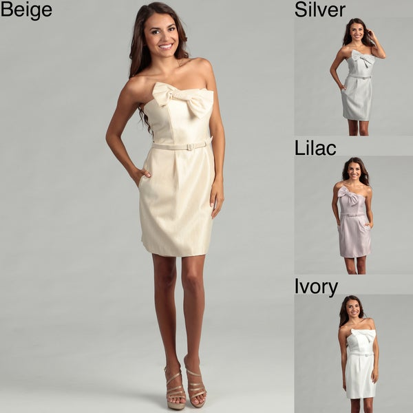 Issue New York Women's Bow Strapless Belted Dress