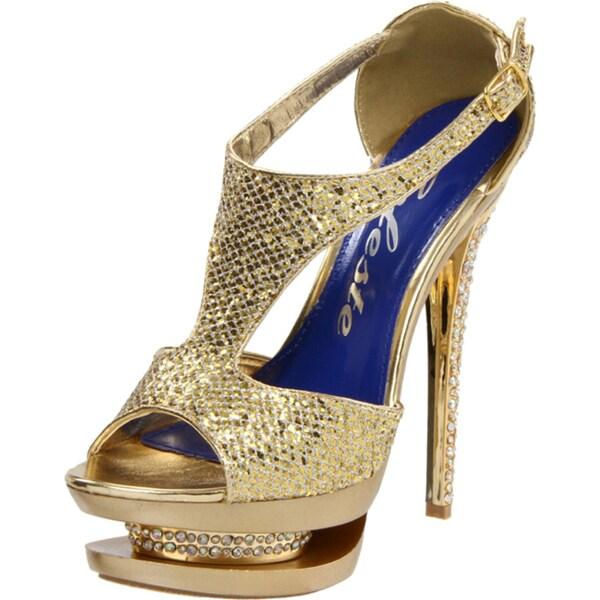 Celeste 'Rosie-01' Ankle Strap Rhinestone Gold Metallic Platform Prom Sandals
