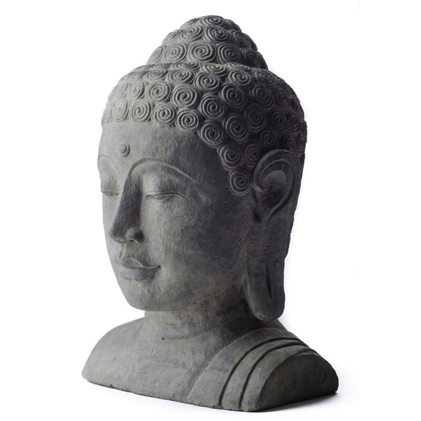 Charmant White Washed Volcanic Ash Buddha Head Garden Accent, Handmade In Indonesia