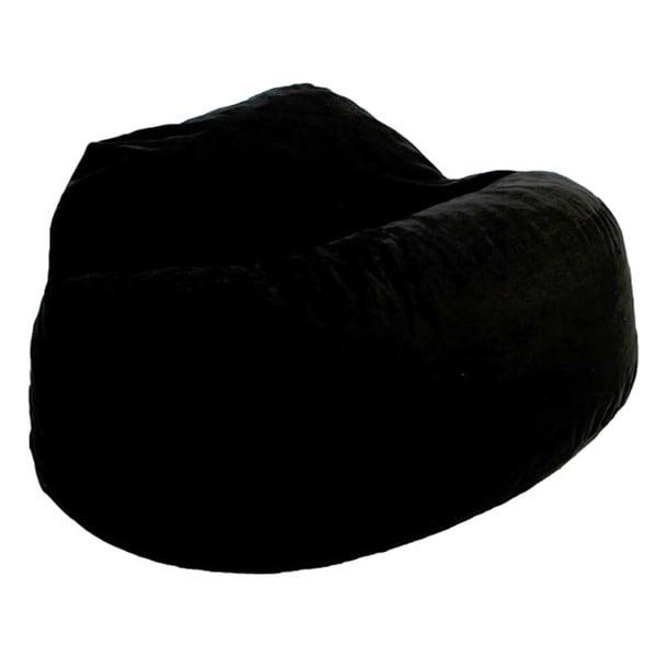 FufSack Black Microfiber Bean Bag Loveseat