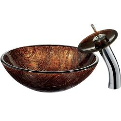 VIGO Kenyan Twilight Vessel Sink in Mulicolors with Waterfall Faucet